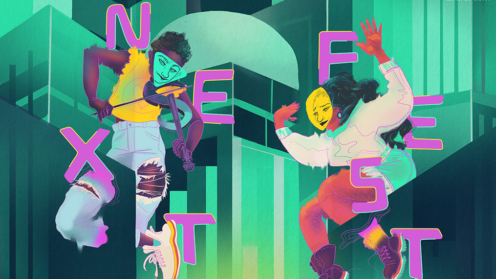 Two artists float against a background green and navy blue skyscrapers. One artist (on the left) is playing a violin with a green triangle over their face and the other (on the right) is dancing with a yellow circle over their face. They are surrounded by abstract shapes and the word Nextfest, handwritten in magenta pink lettering.