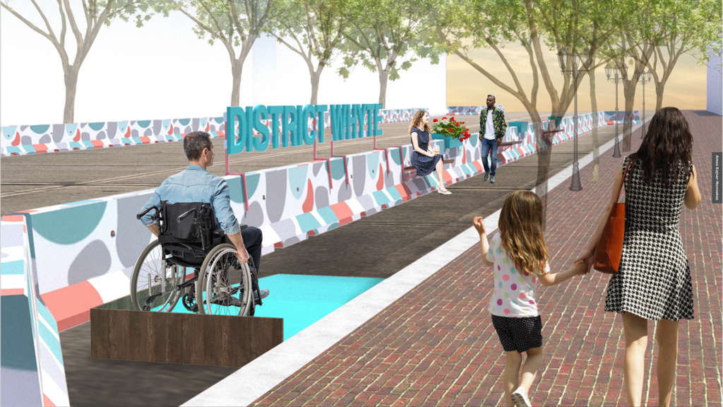 Design proposal of sidewalk expansion shows a man in a wheelchair on an accessible ramp, a woman with a coffee sitting on a hanging bench, and other people walking around the space.