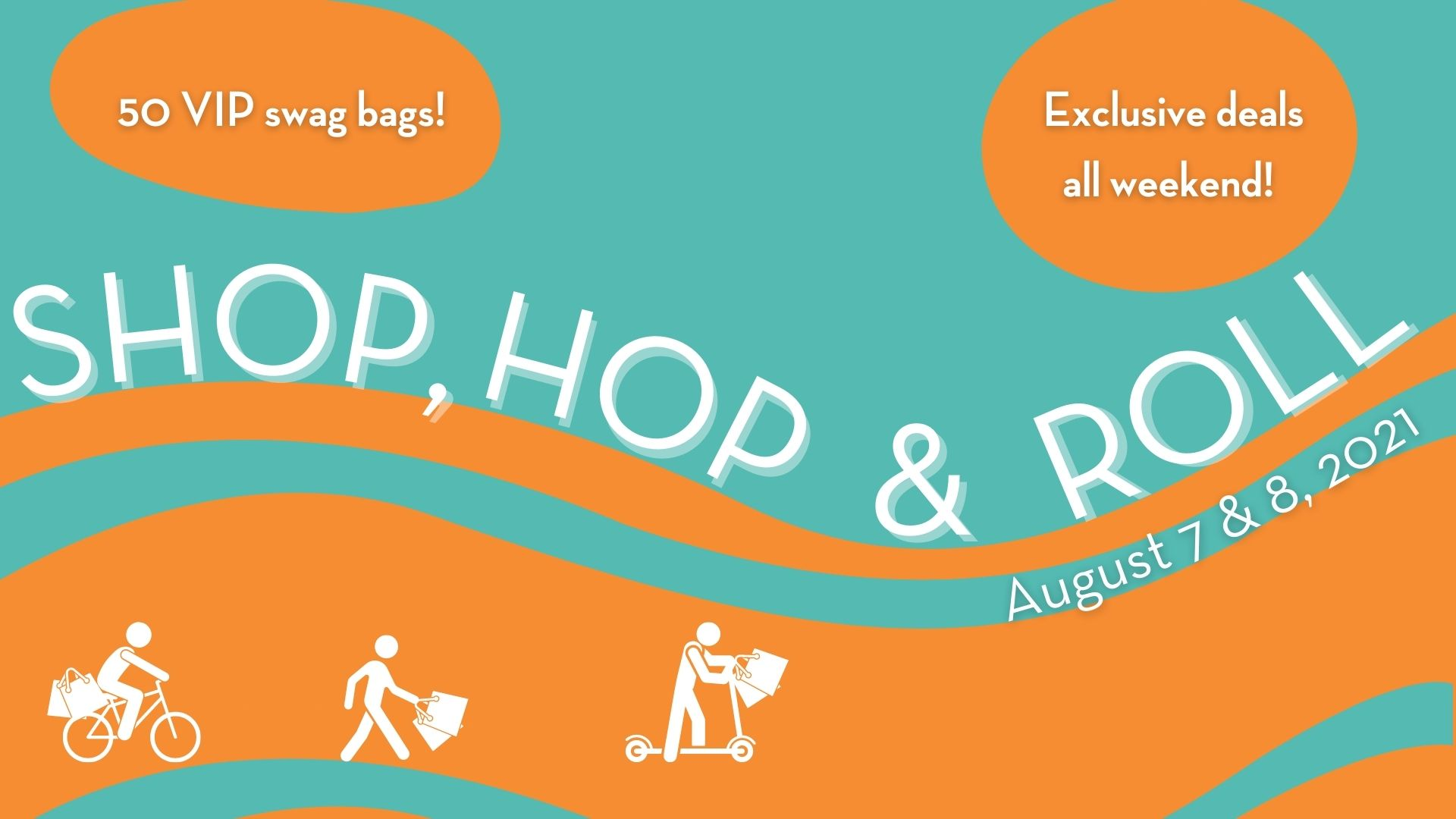 """Title """"Shop Hop and Roll"""" and dates of August 7 and 8 wind on rolling lines of orange and light blue. Shoppers walking, biking and on a scooter carry bags."""